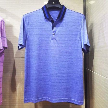 花花公子男士短袖T恤衫P72-DT627209 浅蓝 棉+桑蚕丝+聚酯纤维面料