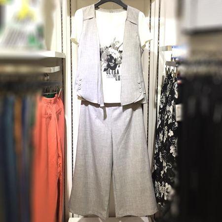 逸阳 2017夏季新款 上衣背心裤子三件套