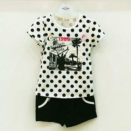 布鲁莎莎女童套装B700515 黑白色/桔白色