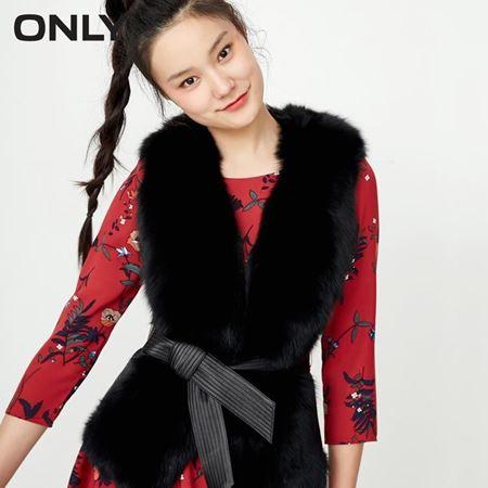 ONLY2017秋新狐狸毛领绵羊皮系带马甲11735S501