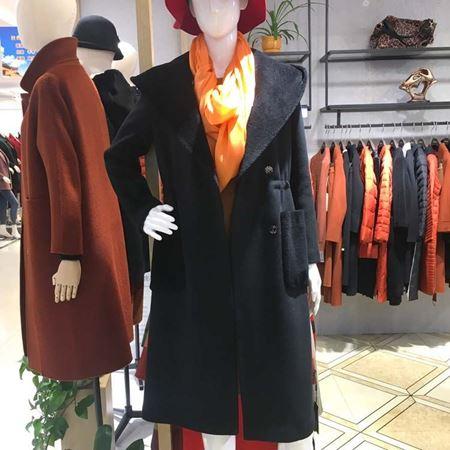 3ffusive(3f)长款羊毛大衣375351H 黑色 2017新款