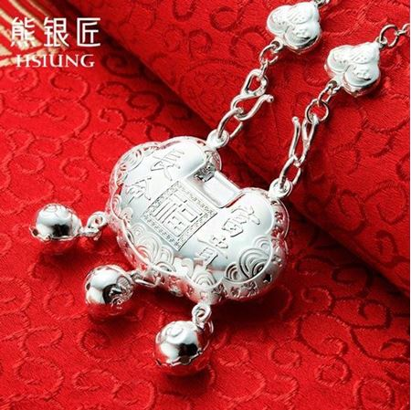 熊银匠宝宝银饰长命锁纯银平安锁S999足银