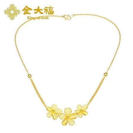 金大福珠宝黄金镂空百年好合项链套链
