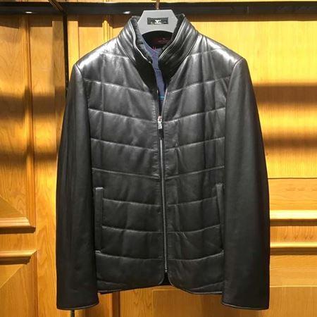 七匹狼男装皮革外套111770105774  黑色