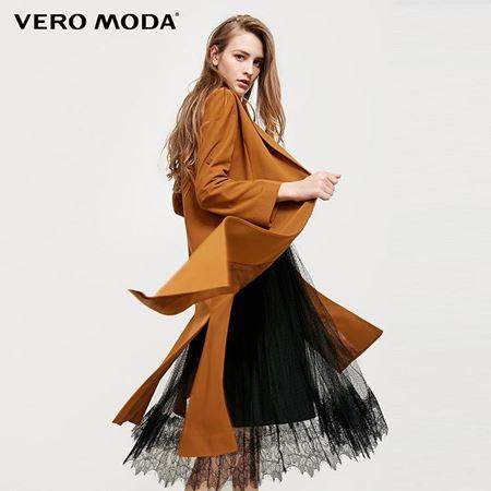 Vero Moda 2018春季新款 两穿袖底摆开叉风衣外套 318117504E11