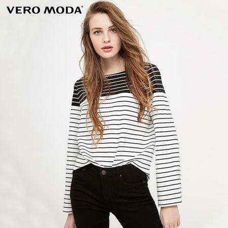 Vero Moda 2018春季新款 条纹喇叭袖舒适弹力上衣 318102503S85