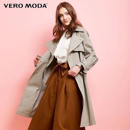 Vero Moda 2018春季新款 翻领双排扣系带中长款风衣外套 318121503