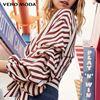 Vero Moda 2018夏季新款 条纹褶皱七分袖V领雪纺衬衫 318258502