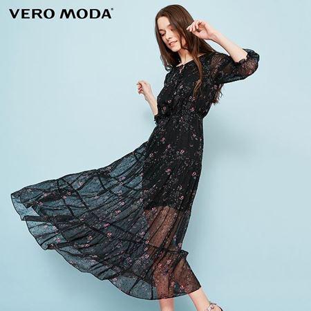 Vero Moda 2018夏季新款 领口系带装饰七分袖印花连衣裙 31827C526