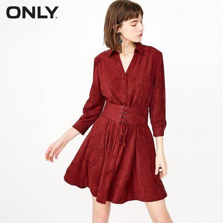ONLY 2018春季新款 绒面单排扣纯色连衣裙 118107522