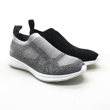 富贵鸟 2018夏季新款运动女鞋非织面料 R8010688 黑色/银色