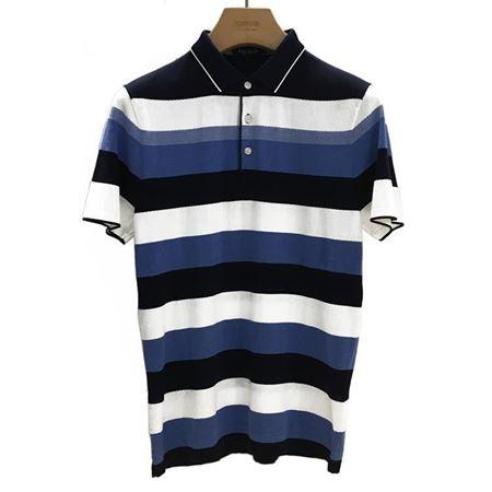雅戈尔 男士短袖上衣 YSZZ52430HJY 黑白蓝条纹