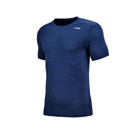 李宁 短袖T恤男士2018新款 训练系列速干凉爽圆领运动衣夏季运动服 深蓝