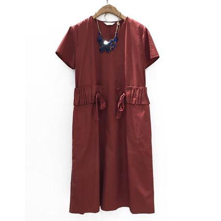易菲 X型短袖连衣裙 1804Y002 夏天的线条 酒红/黑色