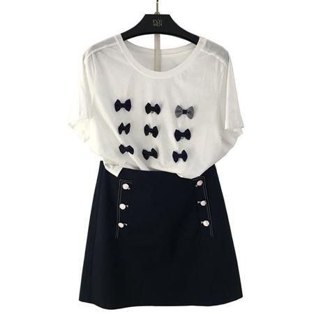 佧茜文 自搭套装(针织T恤+裙子) 白色+藏青 Z03BTB20821 M03BQB20851