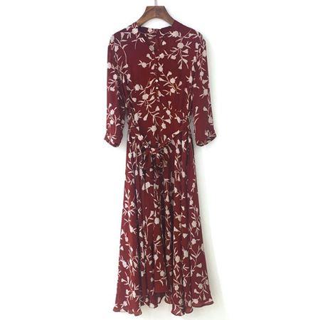 三生物 真丝数码连衣裙 1CWA190CL 红色 夏季新款