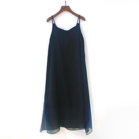 三生物 真丝吊带裙 SSW0117036 黑色 夏季新款