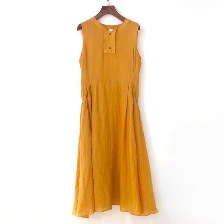 三生物 苎麻无袖翻领收腰连衣裙 1XWA189EL 向日黄 夏季新款