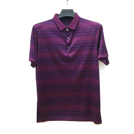金狐狸 男士T恤785802 紫红色条纹翻领 2018夏季新款