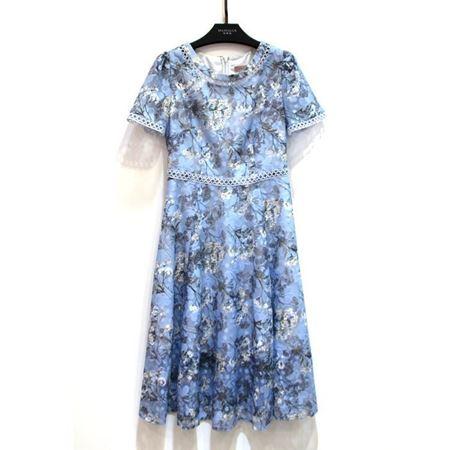 玛玮丝 连衣裙 M18L1033 蓝花 2018年新款
