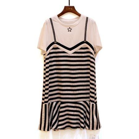 艾菲 连衣裙 180025 白底黑纹 2018年夏季新款