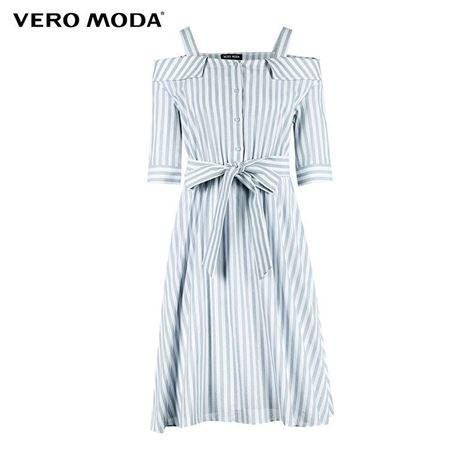 VERO MODA 2018夏季新款 露肩一字领条纹图案连衣裙 31826Z560