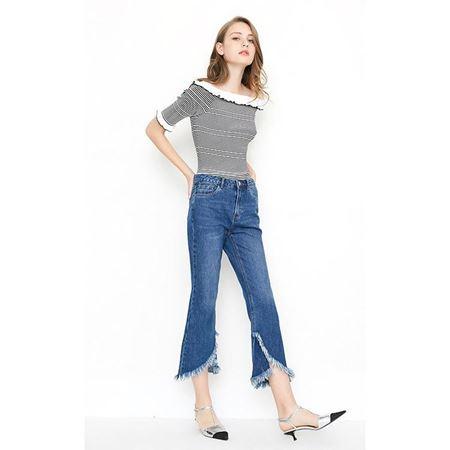 VERO MODA 水洗毛边开衩微喇九分牛仔裤女 2018年新款