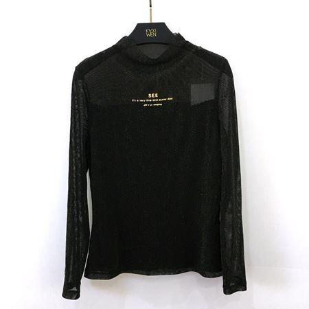 佧茜文 金属光泽T恤 Z08BTB31081 黑色