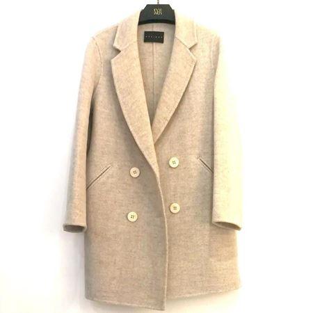 佧茜文 西装式双面呢大衣 A10ADB86181 杏米色 2018年冬季新款