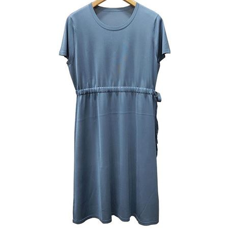鄂尔多斯圆领半袖连衣裙C295D6014 灰蓝 100%桑蚕丝面料 2019夏季新品