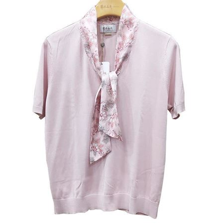 鄂尔多斯V领半袖女套衫C295G0007 粉色/淡蓝 2019夏季新款