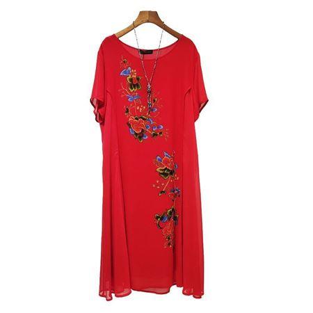 白沙女连衣裙18805 大红 100%桑蚕丝面料 2019夏季新款