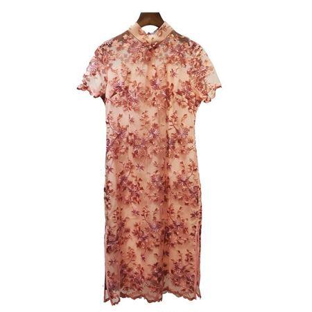 白沙女旗袍19019 橘黄/玫红 2019夏季新款
