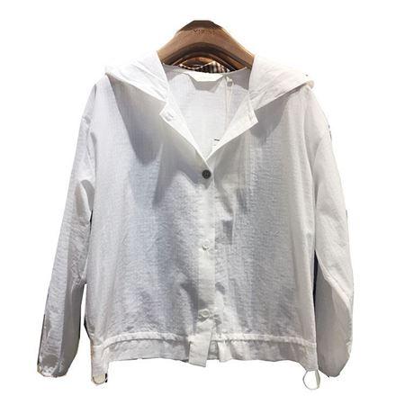 易菲 宽松短外套1904T206 白色连帽 2019夏季新款