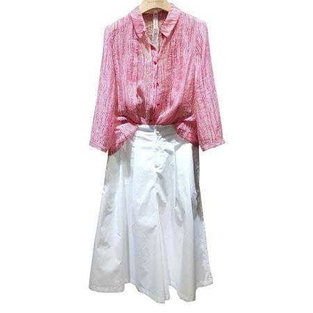庄玛波浪纹衬衣 Z19108C30 胭脂红 + 裤裙Z19116K10 白色 2019夏季新款