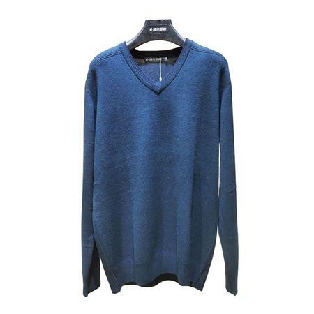 海尔曼斯男式鸡心领长袖羊绒衫 K740D21GT110  藏蓝色