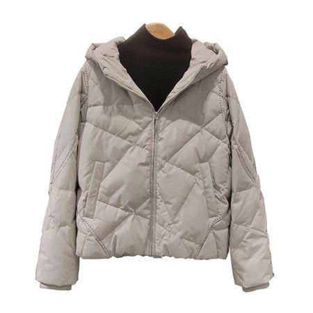 易菲YIFINI宽松短款羽绒服1910E004 米色 白鹅绒/含绒量90% 2019冬款