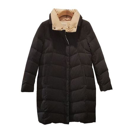 易菲YIFINI宽松中长款羽绒服1910E606 黑色 白鹅绒/含绒量90% 2019冬款
