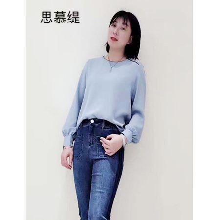 思慕缇2020春季新款 蓝色长袖上衣SJ118012-B4 牛仔裤SX436012-B2