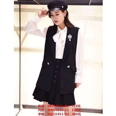 思慕缇2020春季新款 黑白时尚套装 外搭SR433011-A1+内搭SH021012-C1+半裙SQ433011-A1