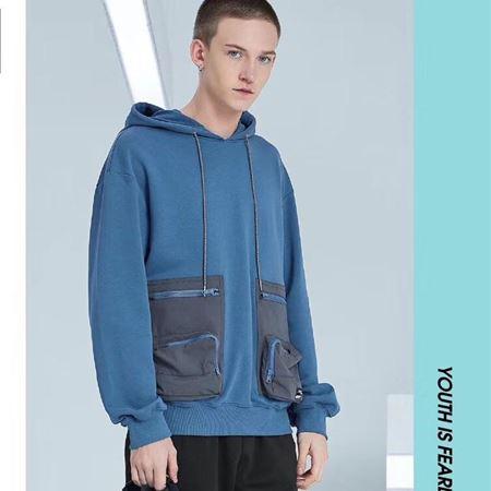 KIKC潮流青春连帽长袖卫衣B3H37059124 蓝色
