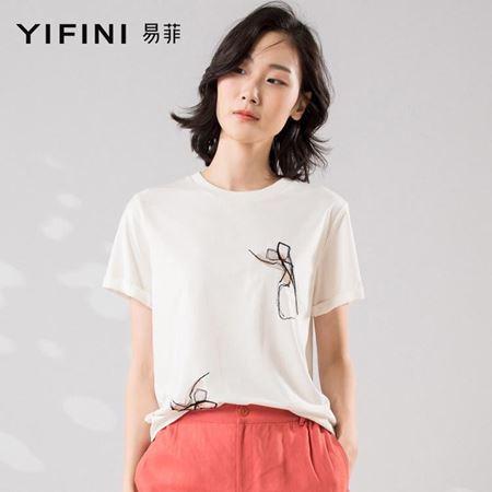 图片  易菲20夏新款圆领短袖短款套头宽松印花T恤女上衣2004Z008