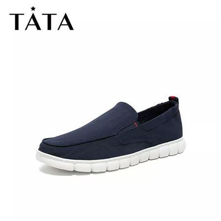 图片 Tata/他她2020夏专柜同款布圆头套脚平底鞋休闲男单鞋28U29BM0
