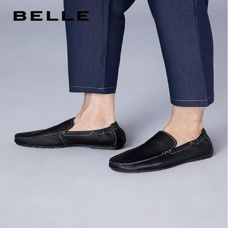图片 百丽2020夏新商场同款牛皮革男套脚乐福休闲鞋6WL01BM0