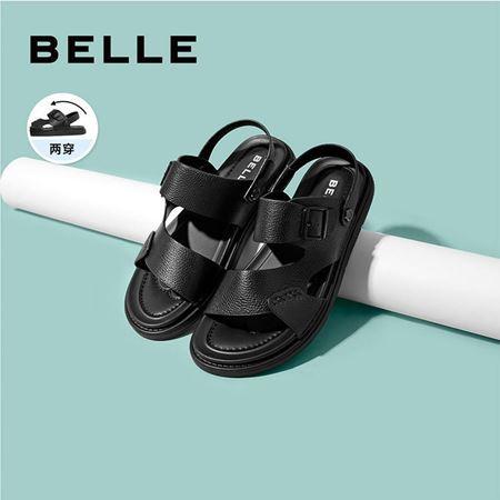 图片 百丽沙滩凉鞋男2020夏新商场同款牛皮革男休闲皮凉鞋6WC01BL0